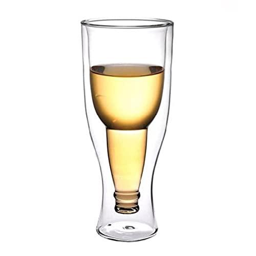 WXDC Taza de Cerveza con Tapa Creativa de 350 ml, Taza de Agua de Bebida de Jugo al revés, Taza de Vidrio Doble Transparente de Restaurante de Bar