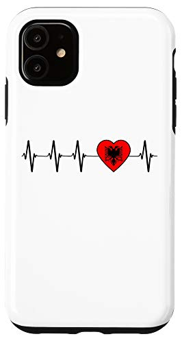 iPhone 11 Albanian Heartbeat Proud I Love Albania Flag Country Gift Case