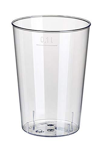 Gastro-Bedarf-Gutheil 240 Stabile Trinkbecher Plastikbecher aus Kunststoff PP 0,1 l Durchmesser 5,2 cm Höhe 7,4 cm transluzent unzerbrechlich Mehrwegbecher