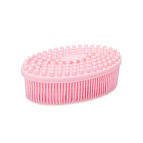 Agirlvct Silicone Loofah Body Scrubber,Exfoliating Silicone Scrubber, Shower Bath Loofa Brush Massaging Spa Gym, Birthday Gift for Kids Men Mother Wife Family (Pink)