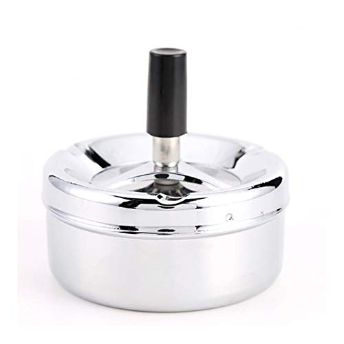JINSUO Yiyuntian Ashtray-Smoking Accessories Stainless Steel Ashtray Round Push Down Cigarette Ashtray with Rotating Tray (Color : 1)