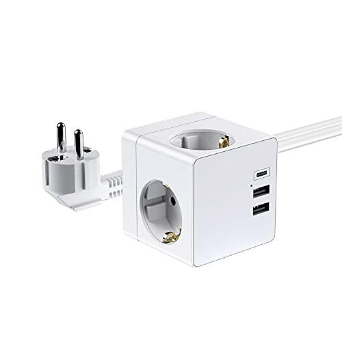 ORSIFOW Steckdosenleiste mit USB, Würfel Mehrfachsteckdose 3 Fach Steckdose mit 2 USB-Anschluss und 1 Typ-C Port (Max 5V,3.4A), 6-in-1 USB Steckdose Würfel mit 1.5m Kabel für Reisen, Heim, Büro