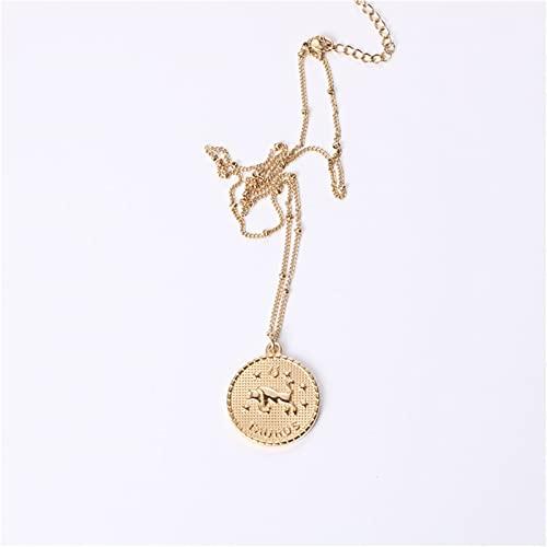 ZFLSGWZ Collar de joyería de Las Mujeres Constelación Colgante Collares para Las Mujeres de Acero Inoxidable Cadena de Hombres Signo Zodiaco Collar Femenino (Gem Color : Taurus)
