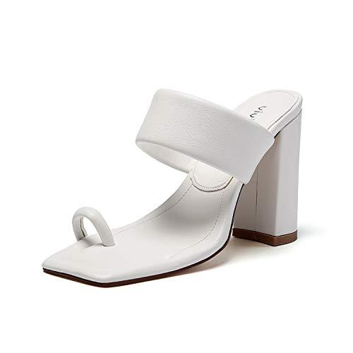 vivianly Women Toe Ring Block Heels Sandals Open Toe Heel Mules Slip on Backless Dress Shoes