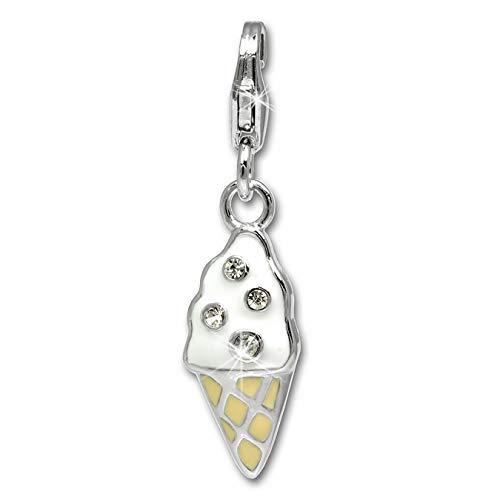 SilberDream Exclusive charms–Charm bocina de hielo de plata con plástico rosa Charm para charms collares y pulseras–plata 925Sterling–FC626