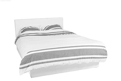 Bett – 140×190 – weiß – Bettgestell mit Aufbewahrung – Bettkasten Inhalt 798 Liter – Material A++ Qualität Lederoptik – Funktionsbett – Stahlrahmen mit Holz – Lattenrost - 2