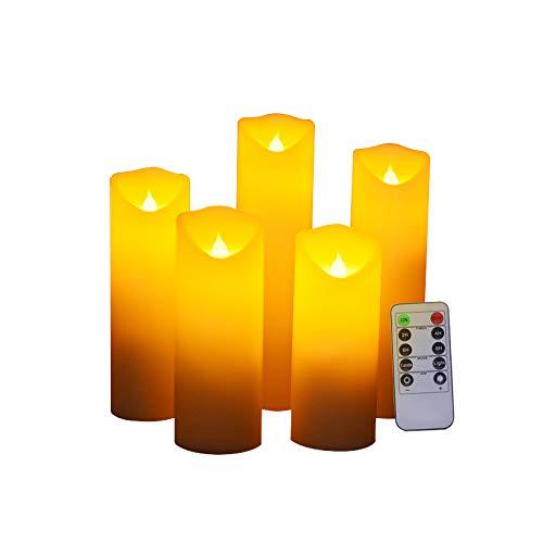 Ruitx Bougies sans Flamme à Del à papillotement Bougies à Piles Bougie électronique à Pilier Conique Del Bougies électroniques Décoration avec télécommande 10 Touches Ensemble de 5