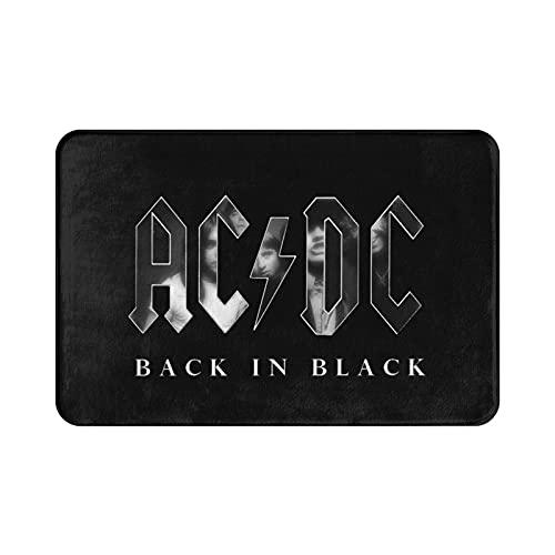 Zooly ACDC Back In Black - Alfombra de baño de franela antideslizante, fuerte absorción, suave, 50 x 80 cm