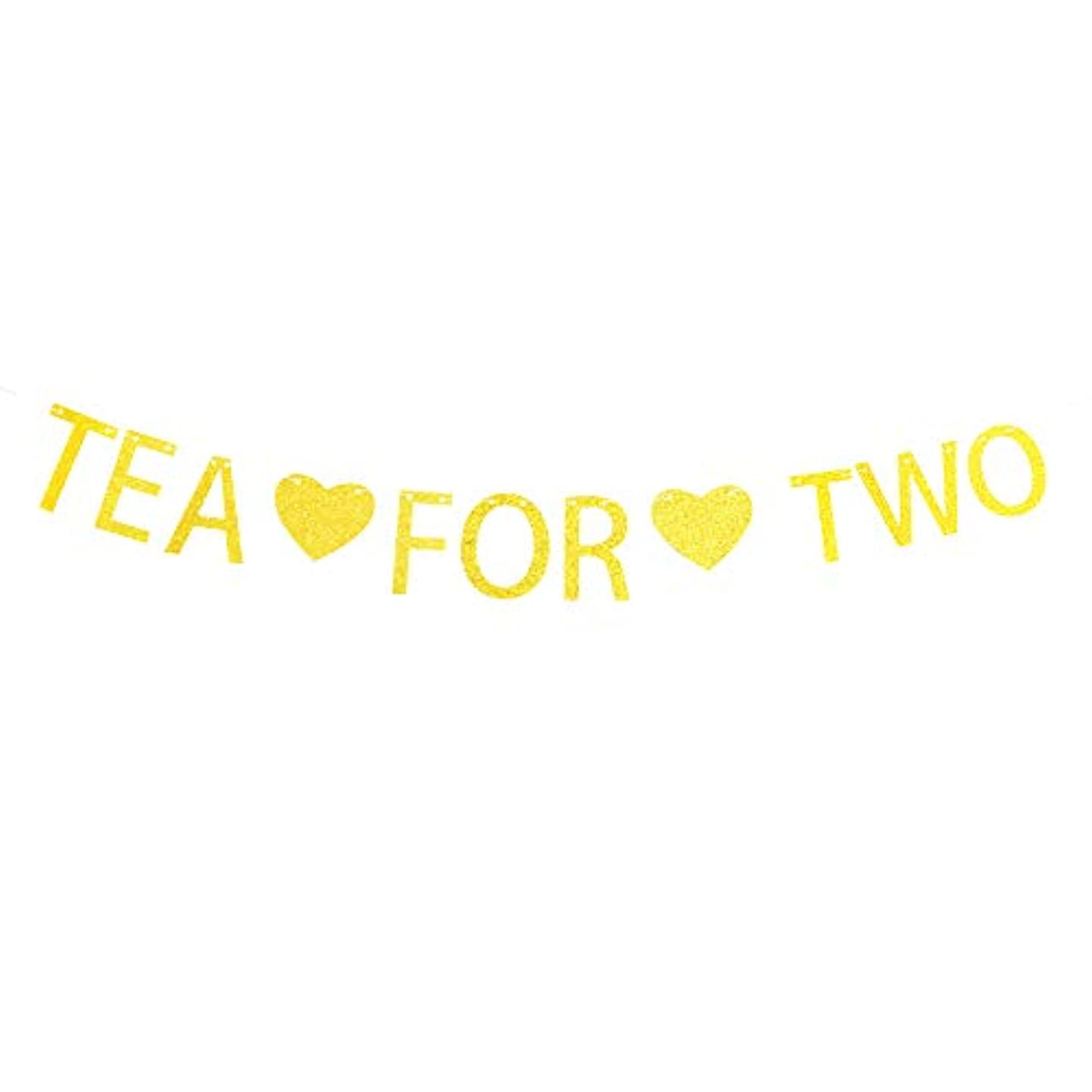 Tea for Two Banner Gold Sparkling Letters for Tea Party Decorations,2nd Birthday Party Decorations