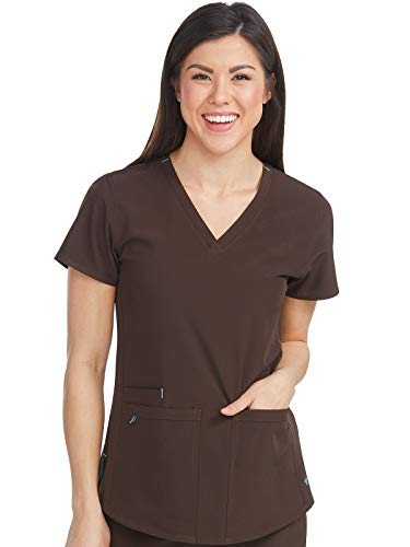 Med Couture Energy Women's Racerback Shirttail Scrub Top, Chocolate, X-Large