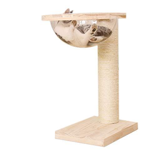 Activiteitscentrum, postkrabber, artikel voor huisdieren, boom, krabboom, speelcent, kat creatieve ruimte, kat schommel, massief hout, kleine kat sisal kat, 40x30x65cm, Houtkleur.