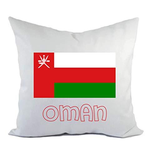 Typolitografie Ghisleri kussen wit Oman met vlag kussensloop en vulling 40 x 40 cm van polyester