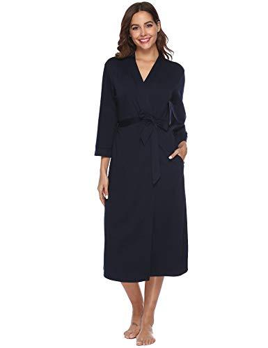 iClosam Batas Mujer Algodón Largo,Kimono con Cinturón Primavera,Ropa de Dormir Cuello en V Suave y Comodo XXL