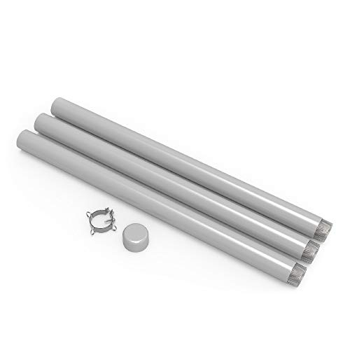 TANG Sun Shade Sail Pole Kit Steel Post in Ground Light Pole for Soil Grass Patio Backyard with Pole Bracket Clamp Powder Coated 140'' High 3'' Diameter