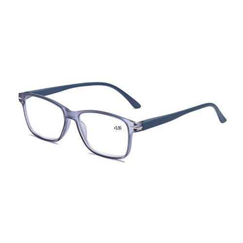KoKoBin Gafas de lectura Anti azules con bisagra de resorte, gafas de ordenador para hombres y mujeres, filtro de luz azul, lectores de moda(azul, +3.5)