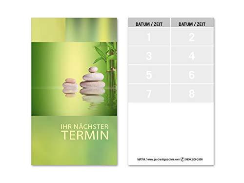 100 Terminkarten, 8 Termine pro Karte = 800 Termine, Scheckkartenformat. Für Massage Wellness Kosmetik Naturheilkunde. Vorderseite glänzend. MA784