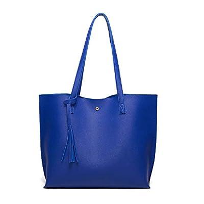 Women's Soft Faux Leather Tote Shoulder Bag from Dreubea, Big Capacity Tassel Handbag Royal Blue New