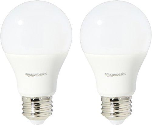 Amazon Basics 60 Watt Equivalent, Soft White, Non-Dimmable, 15,000 Hour Lifetime, A19 LED Light Bulb | 2-Pack