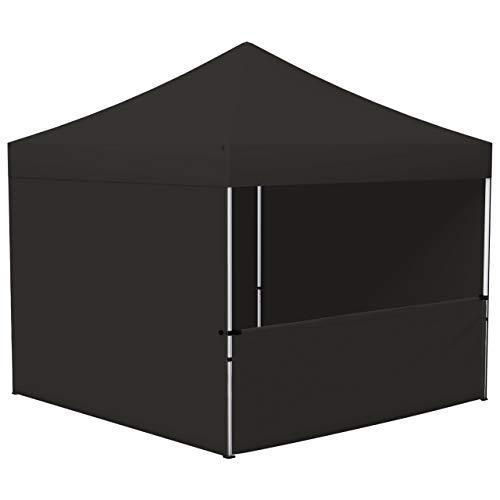 Vispronet® Faltpavillon Eco 3x3 m ✓ 4 Zeltwände (3 Vollwände, 1 Halbhohe Wand) ✓ Scherengittersystem ✓ inkl. Dach mit Volant (Schwarz)