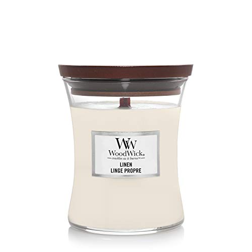 Woodwick Medium Hourglass Scented Candle | Linen | with Crackling Wick | Burn Time: Up to 60 Hours, Linen