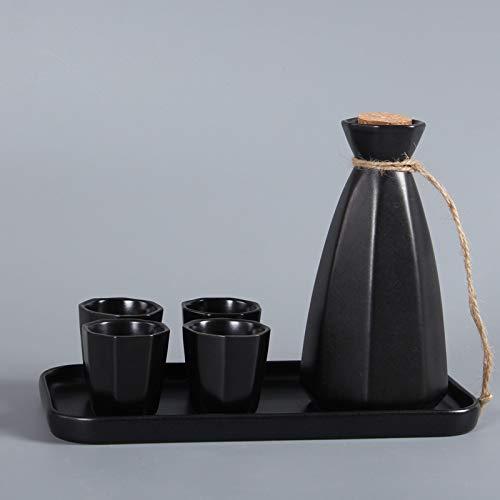 Japanse Sake Instellen achthoekig rijst wijnkruik traditioneel design keramische kunsthandwerk één pot vier kopjes plus dienblad instellen een groot aantal optioneel einstellen A1.