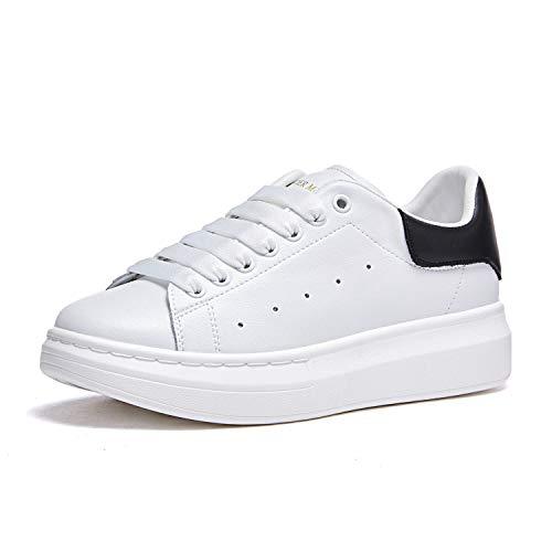 Mujer Zapatillas de Deporte Plataforma Cuero Moda Zapatos Bajas con Cordones Causal Sneakers