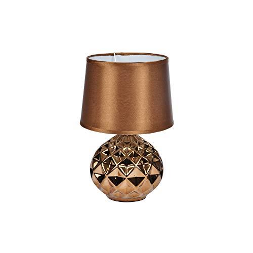 Homea Design Keramik Tischlampe 29,5cm Tischleuchte Nachttisch Lampe Leuchte (Kupfer)