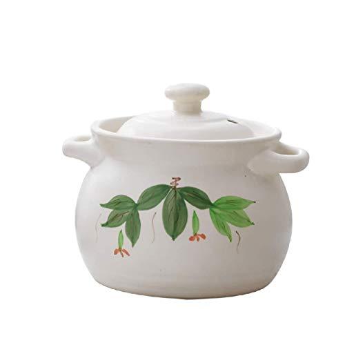 YWSZJ Poignée du couvercle en céramique blanc pur Soupière, ronde en céramique blanc plat Casserole, Multi Function Pot