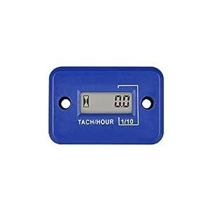 Jayron Tach-Medidor de Horas,Tacómetro Inductivo LCD Digital,Potente Temporización,Medición de RPM,Diseño Impermeable,para Motor de Gasolina,Cortacésped,Motocicleta (2/4 tiempos) (azul)