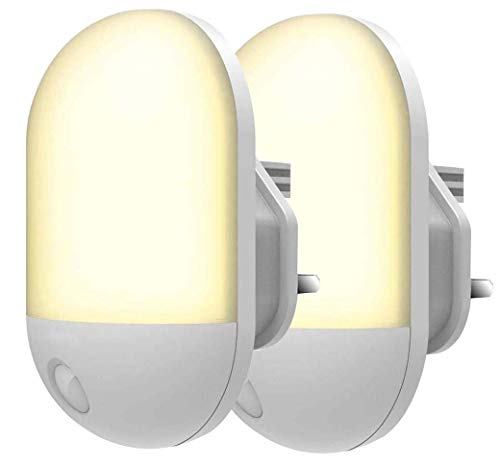 Led-nachtlampje, nachtlampje voor het aansluiten van muren met sensor voor fotocel bij ochtendschemering, energiebesparend, 0,5 W, witte stekker en warm, voor nachtlampje voor kinderen, B