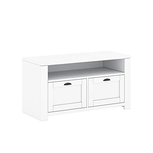 GLmeble TV-Schrank für das Wohnzimmer. Mone.P-Modell. Zweitürige Konstruktion. Weiße Farbe 94,6 cm breit x 50,4 cm hoch