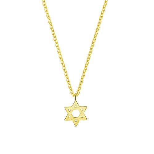 VAWAA Oro Pentagram Collares Colgantes de Acero Inoxidable Cadena Estrella de David Garker Collar para Mujeres judía joyería Collares