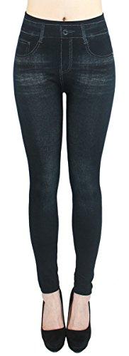 dy_mode Leggings Damen High Waist Stone Washed Optik Jeggings - OneSize Gr.36-42 - JL093 (JL218-Schwarz)