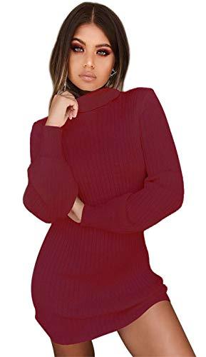 Uni-Wert Vestido de Punto para Mujer Cuello Alto Vestido de Suéter Mujer Manga Larga Elegante Casual Primavera Otoño Invierno Vestido Punto