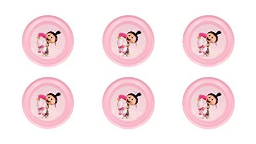 MINIONS 2205; Pack 6 Wiederverwendbare Teller Agnes, Partys und Geburtstage; Kunststoffprodukt; Kein BPA