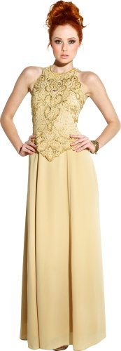 Big Sale Mother Of The Bride Sleeveless Formal Wedding Gown MOB Dress, 5X, Gold