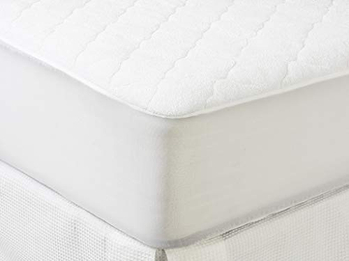 Tex - Cubrecolchón Acolchado Rizo Impermeable Cama 150 cm Blanco