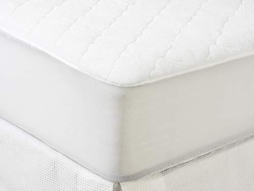 Tex - Cubrecolchón Acolchado Rizo Impermeable Cama 105 cm Blanco