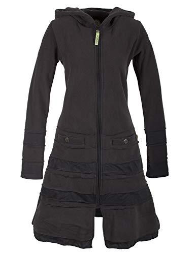 Vishes - Alternative Bekleidung - Langer Damen Patchwork Eco Recycling Fleecemantel mit Kapuze schwarz 44