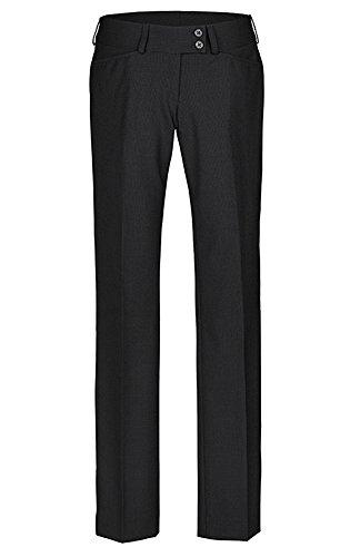 GREIFF Damenhose mit niedriger Leibhöhe   Gerader Beinverlauf   2 Seitentaschen   Breiter Doppelknopfbund   Farbe: Schwarz   Größe: 40