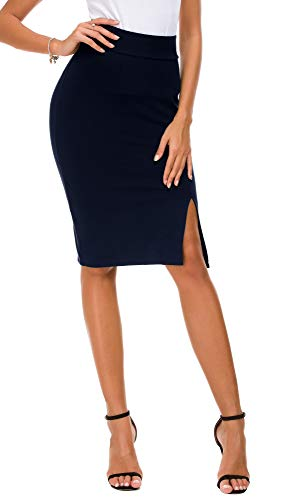 EXCHIC Donna Vita Alta Gonna Elastico Bodycon Midi Gonna (S, Navy Blu)