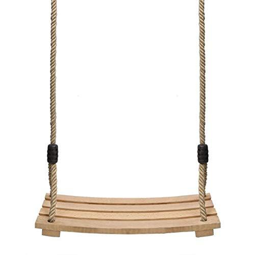 LUGEUK Swing de Madera Ajustable Longitud de Longitud de Longitud de Cuerda Interior y al Aire Libre para niños Adultos Columpios curvos de Juguete para niños de 6 a 15 años