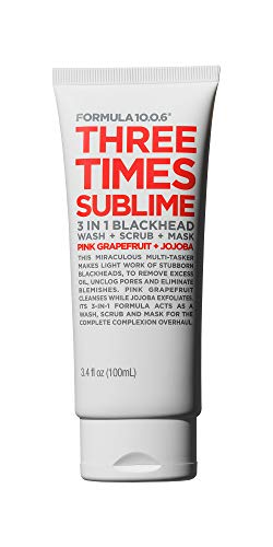 Formula 10.0.6 Three Times Sublime 3-in-1 Blackhead Wash + Scrub + Mask (3.4 Fl. Oz.) Multi-Use Blackhead Treatment that Minimizes Pores \& Reduces Blemishes - Vegan, Sulfate-Free \& Cruelty-Free