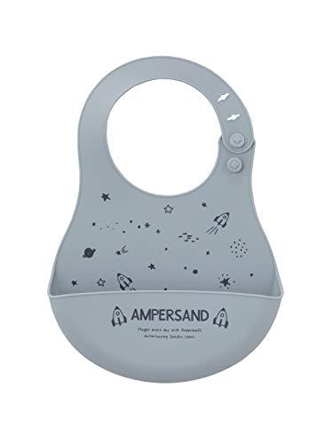 ampersand(アンパサンド) ベビー お食事 スタイ ビブ 食事用エプロン チェリー柄 防水 赤ちゃん フリー サックス