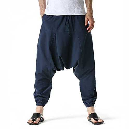 BLACKHEI Pantalones de harén de lino de algodón para hombre de yoga holgados Boho pantalones de los hombres 2021 moda casual Joggers, azul marino, XL