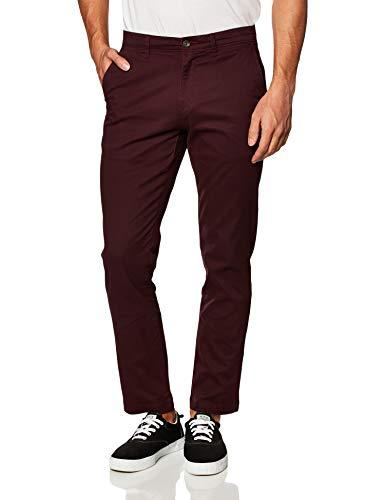 Amazon Essentials - Pantalones ajustados informales en color caqui para hombre, Rojo (Burgundy), W42/L28