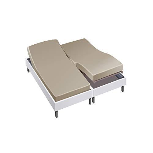 Drap House pour lit articulé 2x80x200 en Percale Seigle - Couleur: Seigle