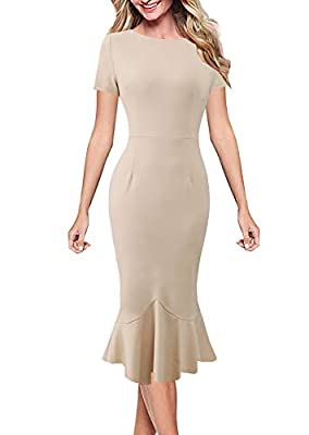 VFSHOW Womens Elegant Vintage Cocktail Party Mermaid Midi Mid-Calf Dress