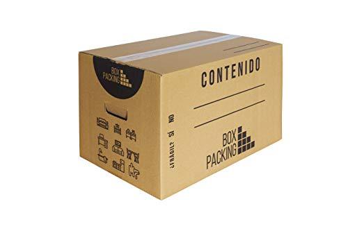 BOXPACKING | Pack 20 Cajas Cartón para Mudanza y Almacenaje | 43x30x25 cm | Con Asas | Tamaño Grande