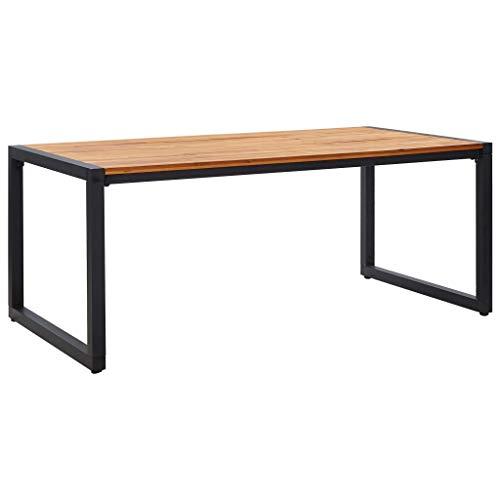 vidaXL Massivholz Gartentisch Esstisch Holztisch Terrassentisch Gartenmöbel Tisch mit Beinen in U-Form 180×90×75cm Akazienholz